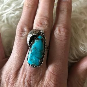 Vintage Turquoise Ring with Silver Feather
